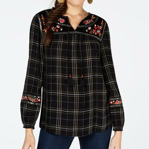 Style & Co Black Embroidered Peasant Top NEW A8-5